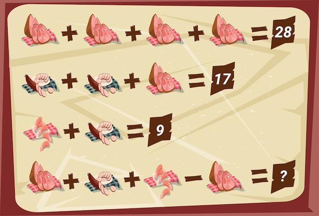 Rompecabezas de resta de suma matemática