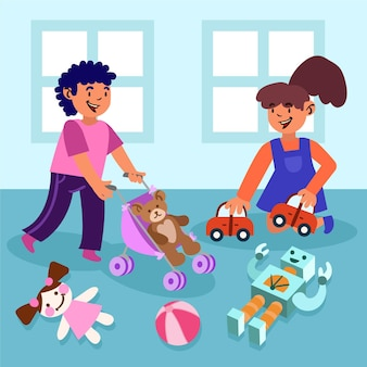 Romper el concepto de normas de género con ilustración de niño y niña