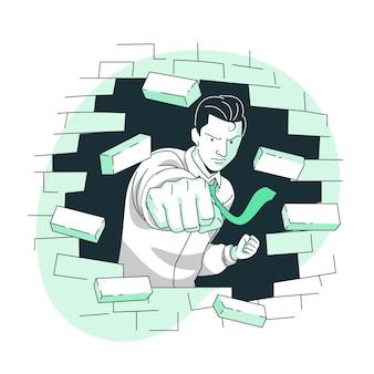 Rompiendo barreras ilustración del concepto
