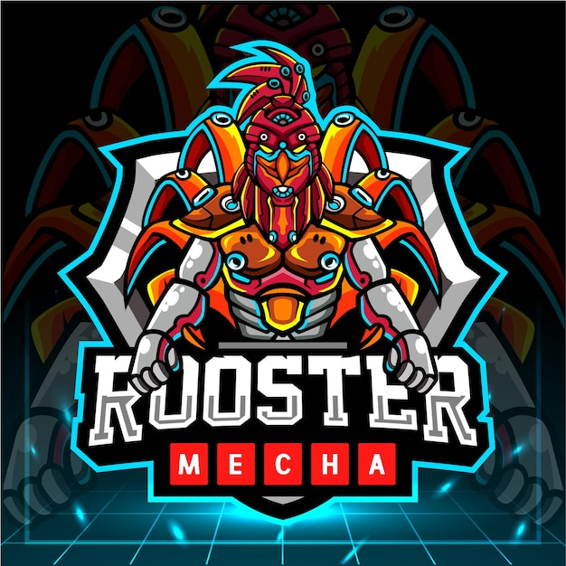 Rooster mecha robot mascot esport logo design