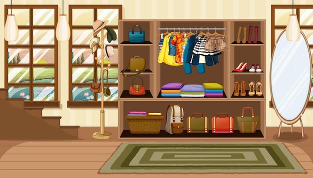Ropa y accesorios en armario abierto en la escena de la habitación.