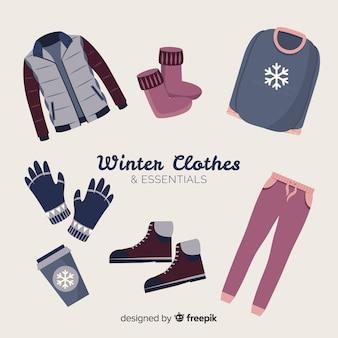 Ropa y accesorios imprescindibles de invierno en diseño plano
