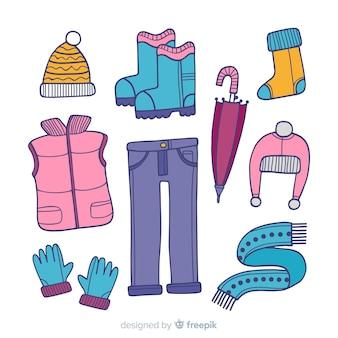 Ropa y accesorios de invierno imprescindibles dibujados a mano