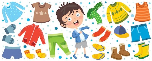 Niño feliz de dibujos animados en ropa de invierno azul | Vector ...