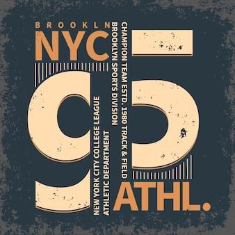 Ropa deportiva de brooklyn de nueva york, emblema de tipografía
