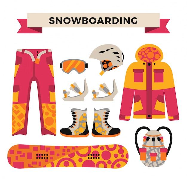 Ropa deportiva de snowboard y elementos de herramientas.