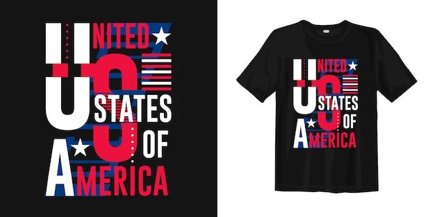 Ropa de diseño de camiseta de tipografía abstracta de estados unidos de américa