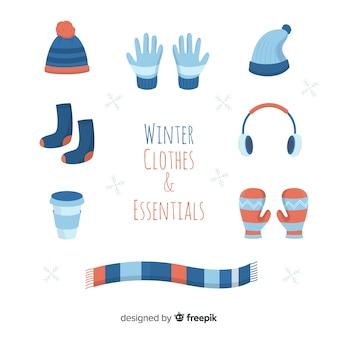 Ropa y esenciales de invierno plana
