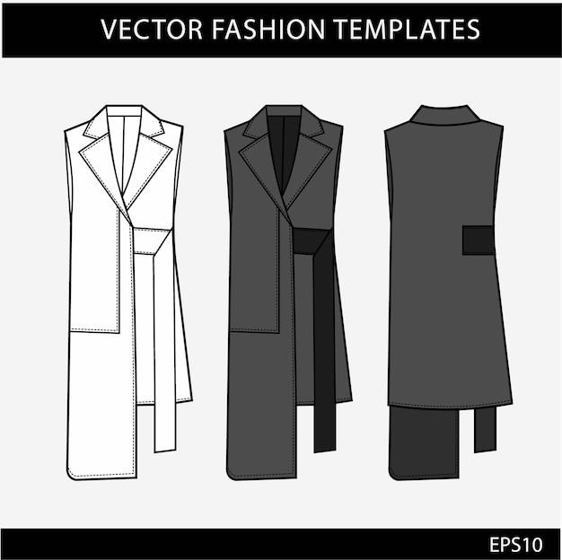Ropa exterior moda dibujos técnicos planos