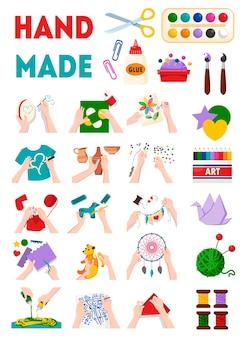 Ropa hecha a mano decoraciones juguetes presenta accesorios joyería cerámica artesanía creativa negocio plano conjunto