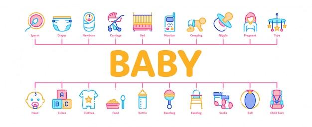 Ropa y herramientas para bebés banner de infografía mínima