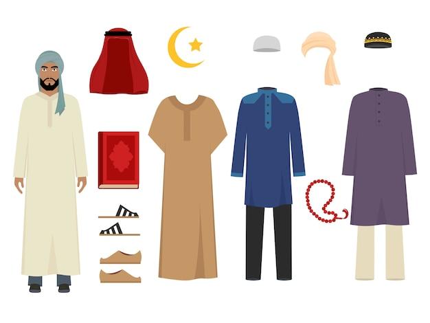 Ropa de hombre árabe. moda islámica nacional de disfraces masculinos, artículos de vestuario, ilustraciones musulmanas de sultán iraní y turco