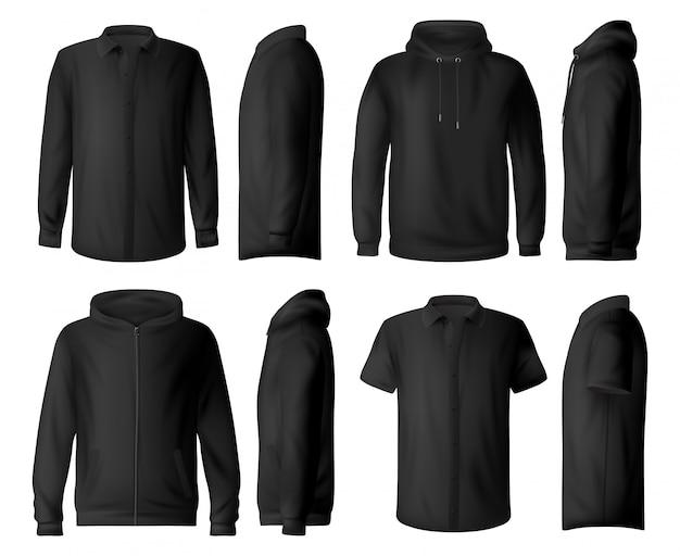 Ropa de hombre, maquetas de camisa y sudadera con capucha