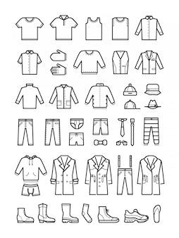 Ropa para hombre, moda masculina línea vector iconos conjunto