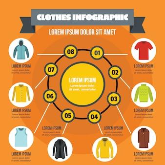 Ropa infografía concepto, estilo plano.