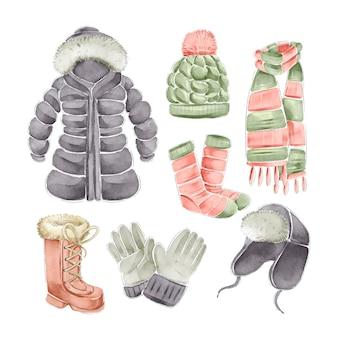 Ropa de invierno de acuarela y elementos esenciales.