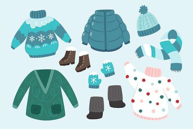 Ropa de invierno y básicos en diseño plano