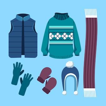 Ropa de invierno y colección de elementos esenciales.