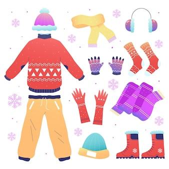 Ropa de invierno y complementos dibujados a mano.