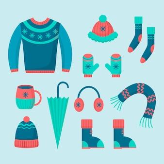 Ropa de invierno de diseño plano y básicos.