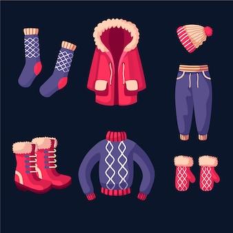 Ropa de invierno de diseño plano y elementos esenciales.