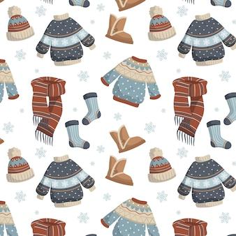 Ropa de invierno plana y elementos esenciales