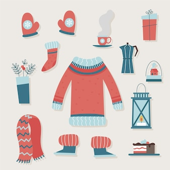 Ropa de invierno vintage y elementos esenciales