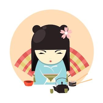 Ropa de kimono de personaje de geisha japonesa y banner de ceremonia del té.
