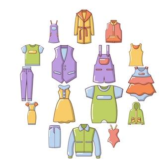 Ropa de moda usar conjunto de iconos, estilo de dibujos animados