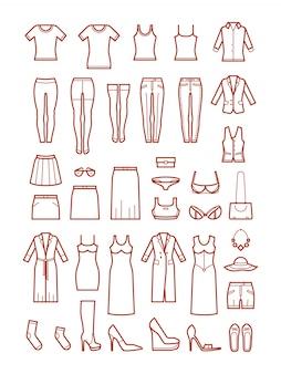 Ropa de mujer, conjunto de iconos de línea de moda femenina