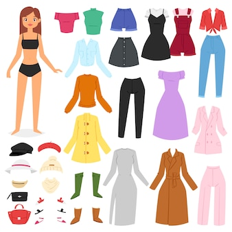 Ropa mujer hermosa niña y vestirse o ropa con pantalones de moda vestidos o zapatos ilustración conjunto de girlie femenino sombrero de tela o abrigo sobre fondo blanco