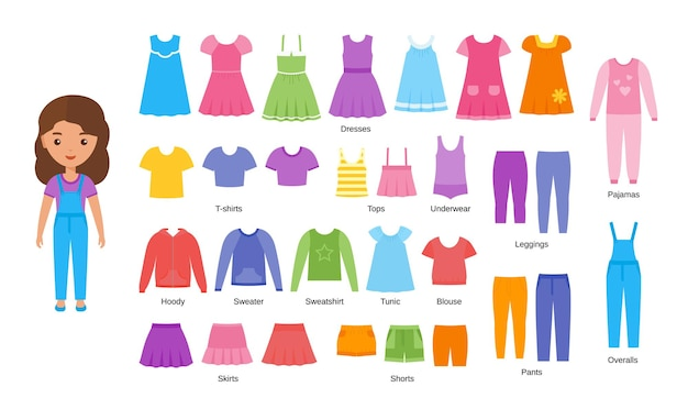 Ropa de niña. ropa de bebé. muñeca de papel de personaje femenino de dibujos animados con ropa casual