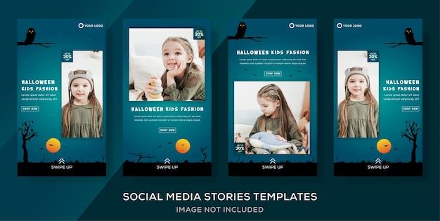 Ropa para niños publicación de historias de banner de halloween.
