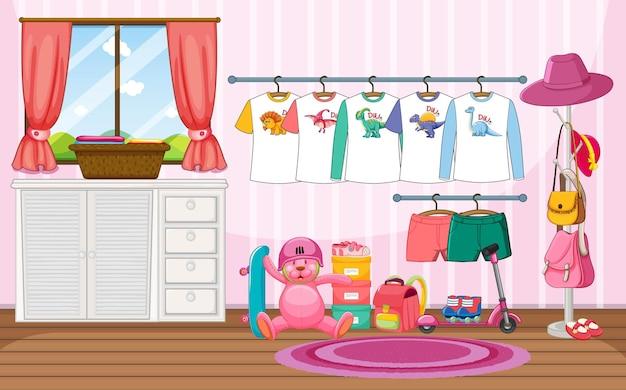 Ropa de niños en un tendedero con muchos juguetes en la escena de la habitación.