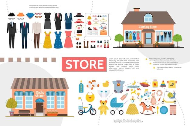 Ropa plana y tiendas para niños infografías con accesorios de ropa para mujeres y hombres, juguetes para niños, ilustración de ropa