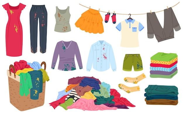 Ropa sucia con manchas, pila de ropa en la canasta de lavandería, pila, ropa limpia y fresca doblada vector