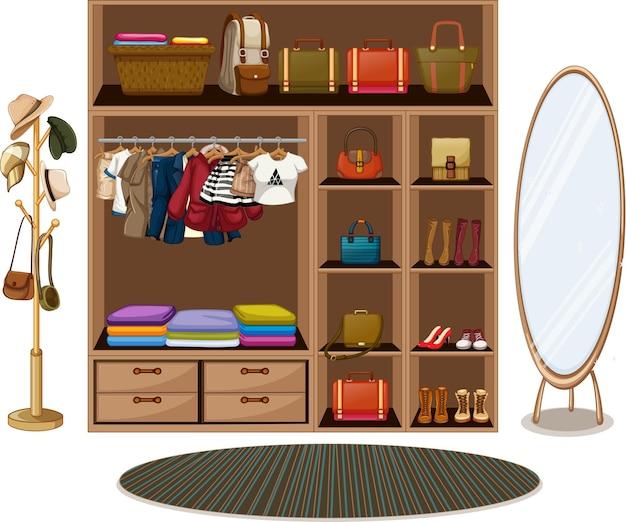 Ropa tendida en un tendedero con accesorios en armario