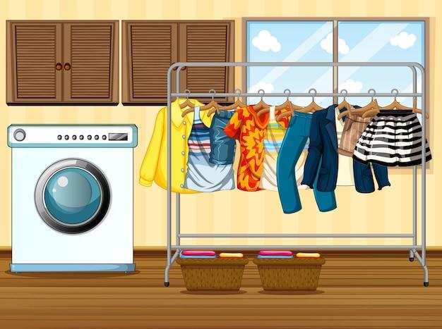 Ropa tendida en un tendedero con lavadora en la escena de la habitación