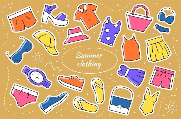 Ropa de verano - juego de pegatinas. objetos y elemento de vector de colección.