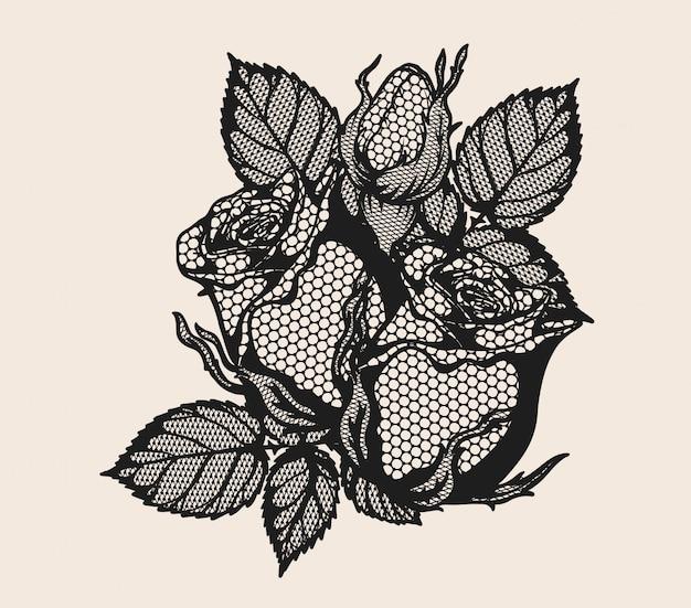 Rosa adorno de encaje vector a mano dibujando