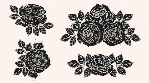 Rosa adorno vector a mano dibujando