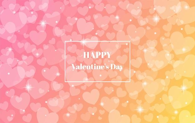 Rosa y amarillo borrosa feliz día de san valentín con fondo de corazón bokeh.