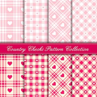 Rosa bebé niña país cheques con corazones colección de patrones sin fisuras