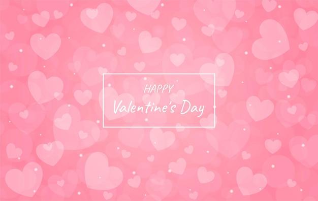 Rosa borrosa feliz día de san valentín con corazón bokeh de fondo.