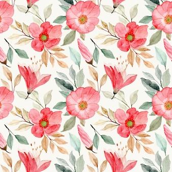 Rosa flor flor acuarela de patrones sin fisuras