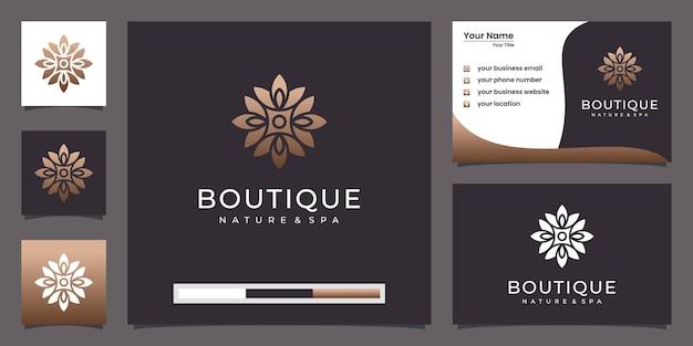 Rosa floral elegante minimalista para belleza, cosmética, yoga y spa. logo y tarjeta de visita