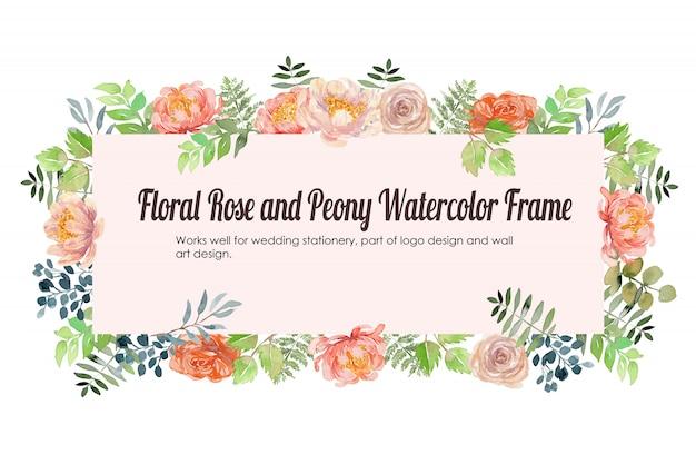 Rosa floral y fondo de marco de acuarela de peonía