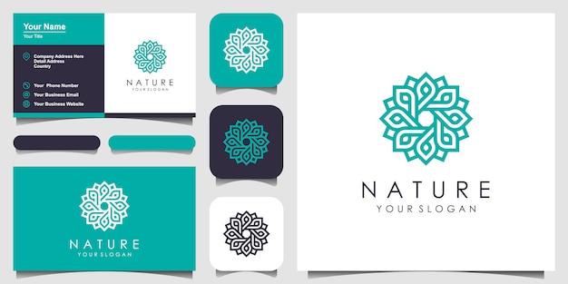 Rosa floral minimalista elegante con logotipo de estilo de línea de arte y tarjeta de visita. logotipo de belleza, cosmética, yoga y spa. diseño de logotipo y tarjeta de visita