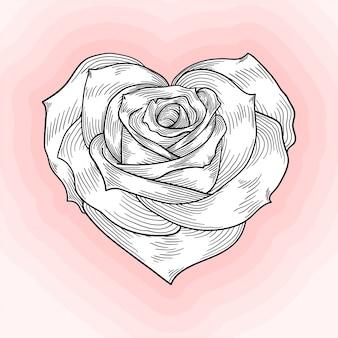Rosa en forma de corazón, bosquejo monocromático