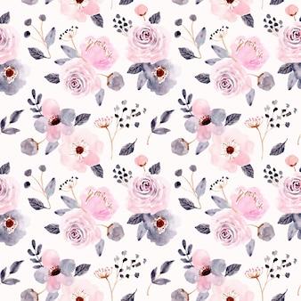 Rosa gris floral acuarela de patrones sin fisuras